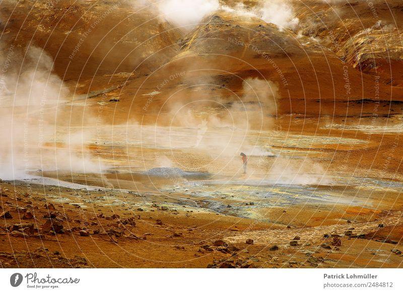 Geothermalinhalation Ferien & Urlaub & Reisen Abenteuer Insel Mensch maskulin Körper 1 Umwelt Natur Landschaft Urelemente Erde Vulkan Namafjall Geothermik