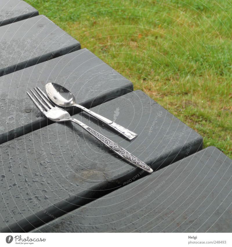 Mahlzeit... Gabel Löffel Ferien & Urlaub & Reisen Freiheit Sommer Pflanze schlechtes Wetter Regen Gras Parkplatz Tisch Holz liegen authentisch einfach kalt nass