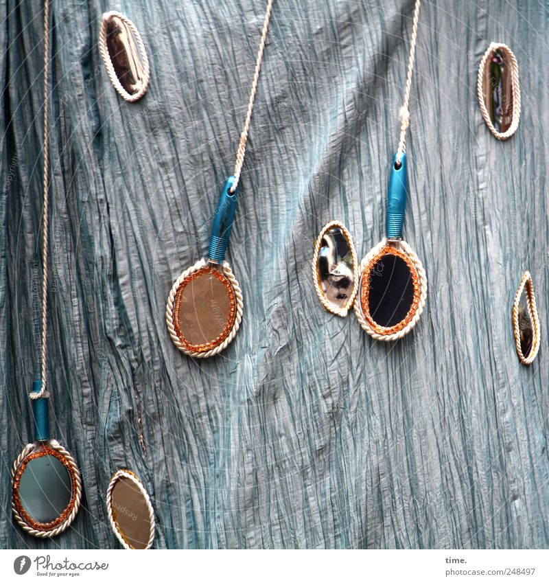 Spieglein Spieglein Bewegung Kunst glänzend Stoff Spiegel Schnur Schmuck hängen Textilien Accessoire