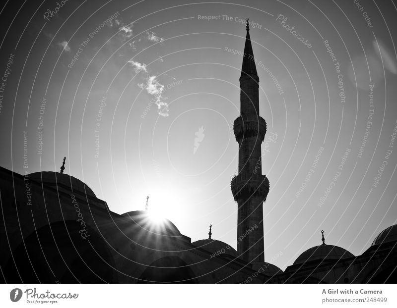 love Istanbul Himmel Türkei Stadt Turm Bauwerk Gebäude Architektur Moschee Dach Kuppeldach Sehenswürdigkeit Blaue Moschee leuchten alt authentisch