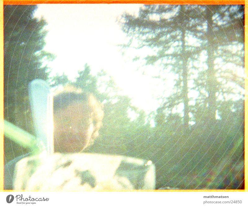 Kaltgetränk Mann Natur Sonne grün Sommer Wald Glas modern Trinkhalm Überbelichtung
