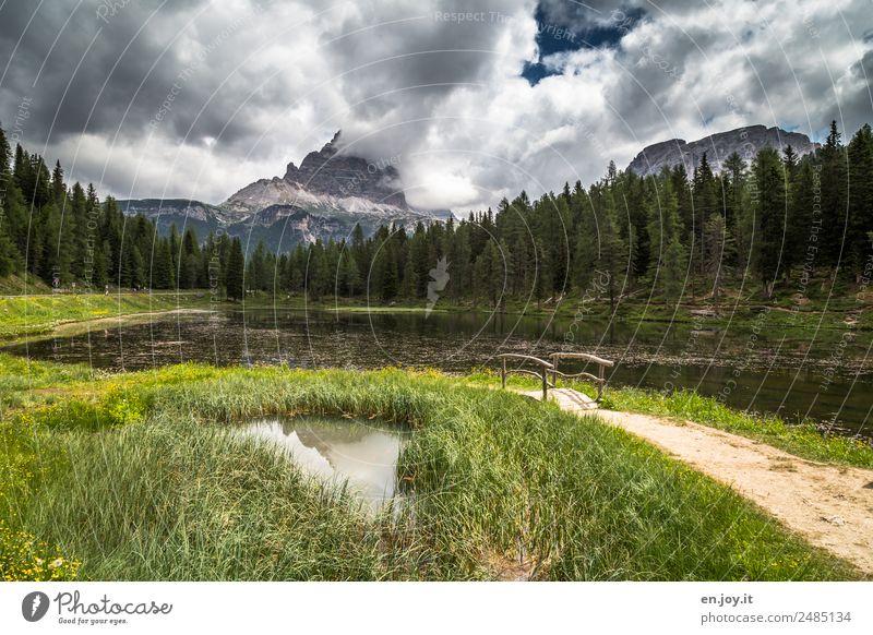 Lago d'Antorno mit den Drei Zinnen Ferien & Urlaub & Reisen Ausflug Abenteuer Freiheit Sommerurlaub Berge u. Gebirge wandern Natur Landschaft Gewitterwolken