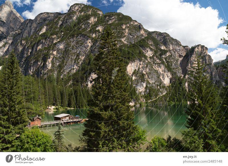 Aussicht Ferien & Urlaub & Reisen Tourismus Ausflug Sommer Sommerurlaub Berge u. Gebirge Natur Landschaft Wald Felsen Alpen Dolomiten See Pragser Wildsee