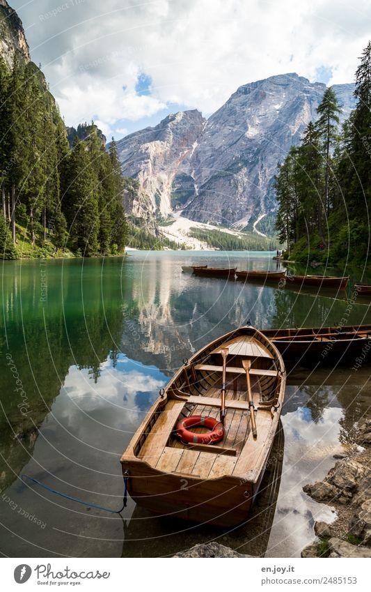 Rettungsboot Natur Ferien & Urlaub & Reisen Sommer grün Landschaft Wolken ruhig Wald Berge u. Gebirge Tourismus See Felsen Ausflug Freizeit & Hobby Idylle