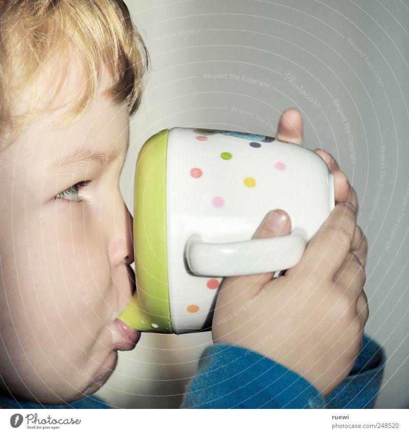 Ex! Ex! Ex! Mensch blau grün weiß ruhig Ernährung Junge grau Lebensmittel Kindheit blond sitzen maskulin Getränk süß Pause