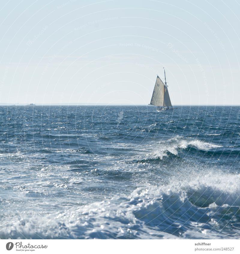und sie schlafen immer noch... Ferien & Urlaub & Reisen Meer Ferne Küste Wasserfahrzeug Horizont Wellen Schönes Wetter Schifffahrt Dunst Segeln Segelboot Atlantik Gischt Jacht Segelschiff