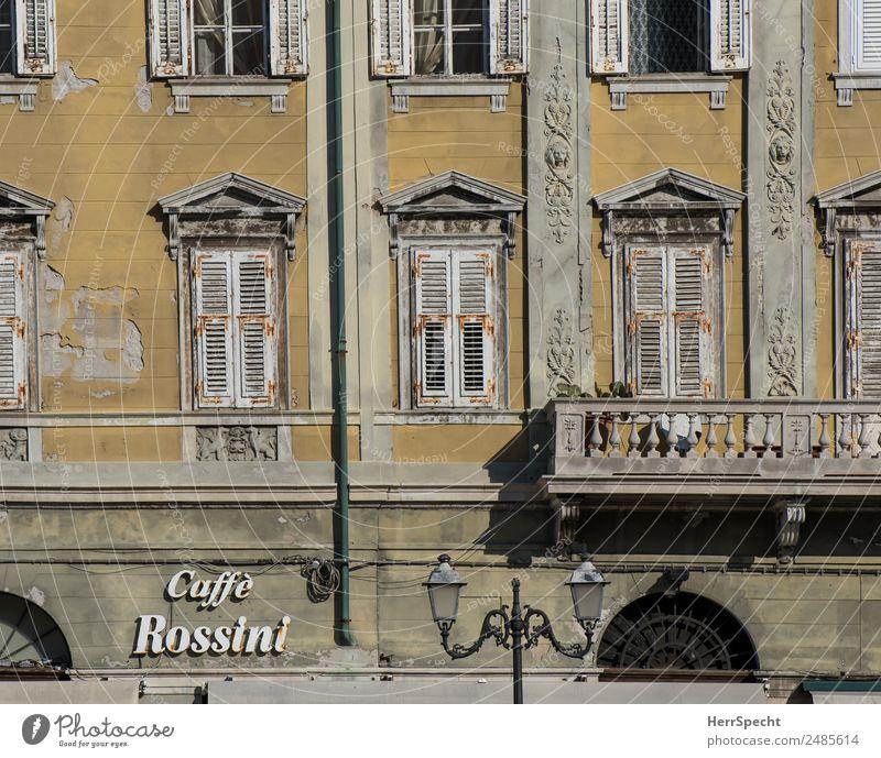 Caffé Rossini Ferien & Urlaub & Reisen alt Stadt Haus Fenster Architektur gelb Wand Gebäude Mauer außergewöhnlich grau Fassade Schriftzeichen ästhetisch trist