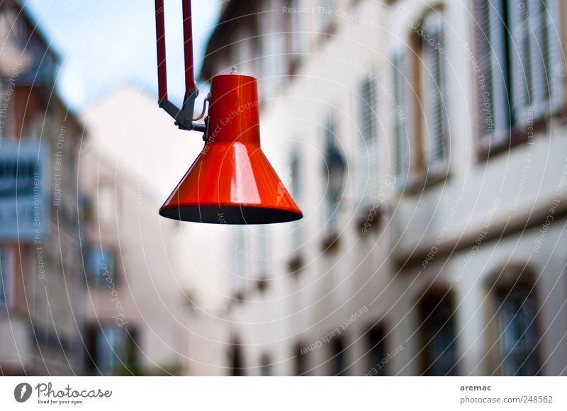 Strassenleuchte Stadt rot Haus Gebäude Lampe Straßenbeleuchtung Stadtzentrum Altstadt