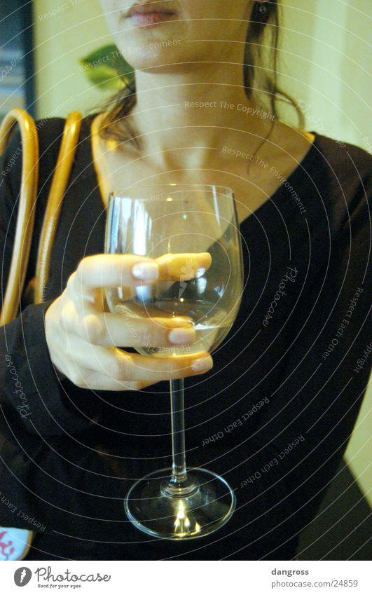 Schöner warten Frau Lippen Handtasche schön Glas Mund ruhig Wein