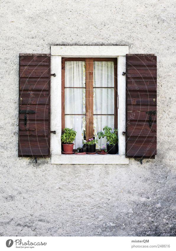 Am Fenster. Dorf Kleinstadt Einfamilienhaus Traumhaus Hütte Gebäude ästhetisch Fassade Haus Fensterscheibe Fensterladen Fensterbrett Fensterrahmen Fenstersims