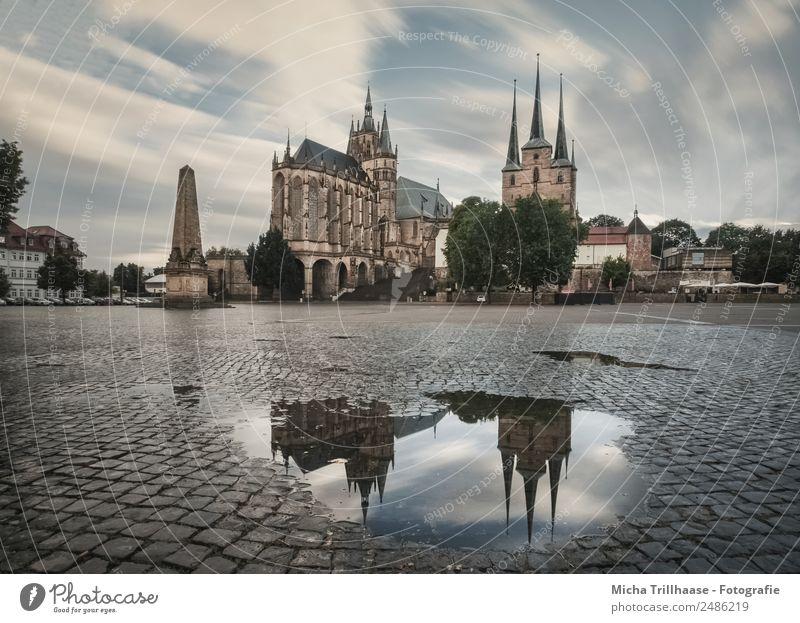 Erfurter Dom und Spiegelung Ferien & Urlaub & Reisen blau Stadt grün Haus Wolken Architektur gelb Religion & Glaube Tourismus orange Ausflug Regen Kirche Platz