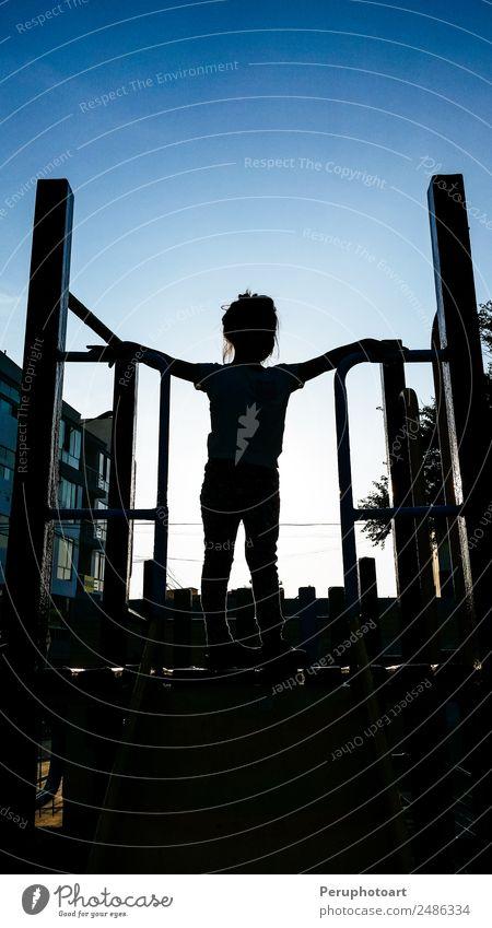 hübsches kleines Mädchen auf einer Kinderrutsche Freude Erholung Freizeit & Hobby Spielen Sommer Kindergarten Schulhof Schulkind Mensch Kindheit Park Spielplatz