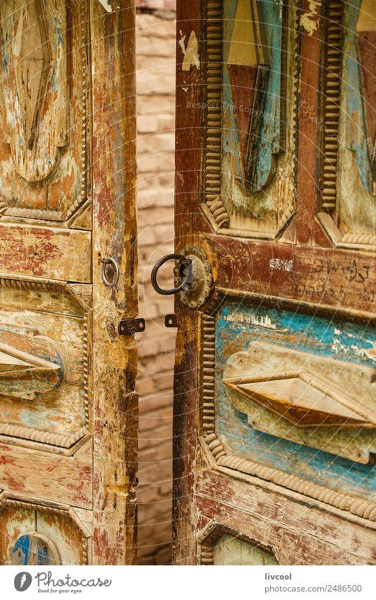 antike Tür, Hotan Haus Kunst Architektur Kleinstadt bevölkert Gebäude Straße Ring Holz alt Originalität retro blau braun rot China wüst Tarim Xinjiang uigur