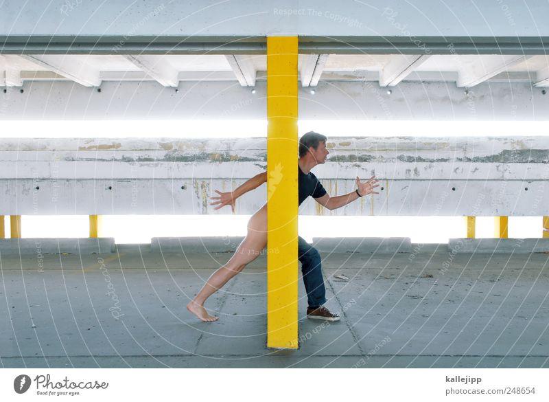 nacktscanner Mensch Mann gelb nackt Erwachsene Beine Fuß Kunst Körper Arme gehen laufen maskulin natürlich Sicherheit bedrohlich