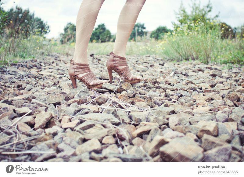 these shoes aren't made for walking Frau Mensch Natur schön Erwachsene feminin Straße Umwelt Wege & Pfade Stein Beine Fuß Schuhe elegant gehen Lifestyle
