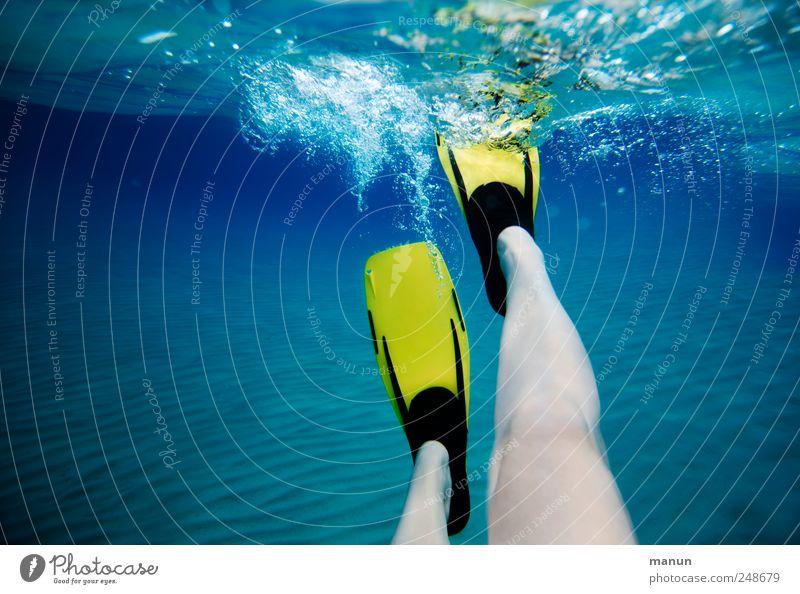 aqua-power Mensch blau Wasser Ferien & Urlaub & Reisen Meer Freude gelb Erholung Leben Bewegung Beine Freizeit & Hobby Schwimmen & Baden natürlich authentisch Perspektive