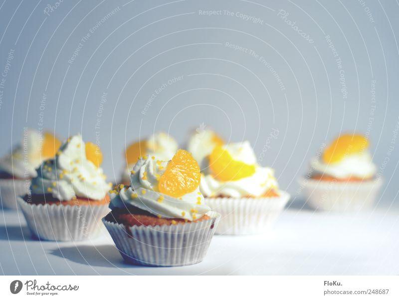 CupCakeGalore Lebensmittel Orange Kuchen Dessert Süßwaren Ernährung Kaffeetrinken frisch lecker schön süß weiß Völlerei gefräßig Muffin Cupcake Törtchen Sahne