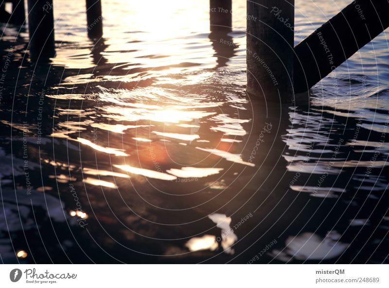 Steg. Natur Wasser schön Sommer ruhig Erholung Umwelt Wellen ästhetisch Romantik Hafen Italien Anlegestelle Momentaufnahme Sommerurlaub