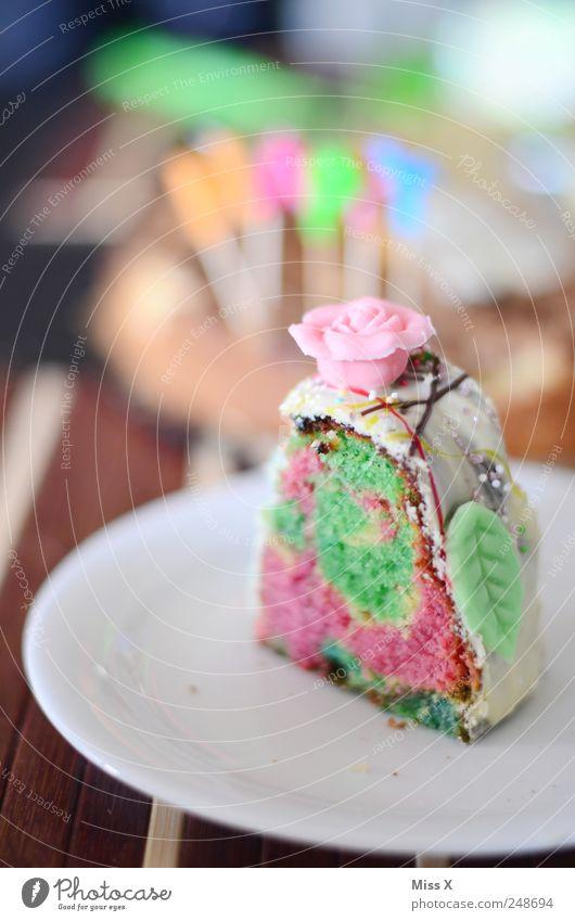Papageienkuchen Ernährung Lebensmittel Feste & Feiern Geburtstag süß Rose Dekoration & Verzierung Teile u. Stücke Geschirr Kuchen lecker Süßwaren Teller