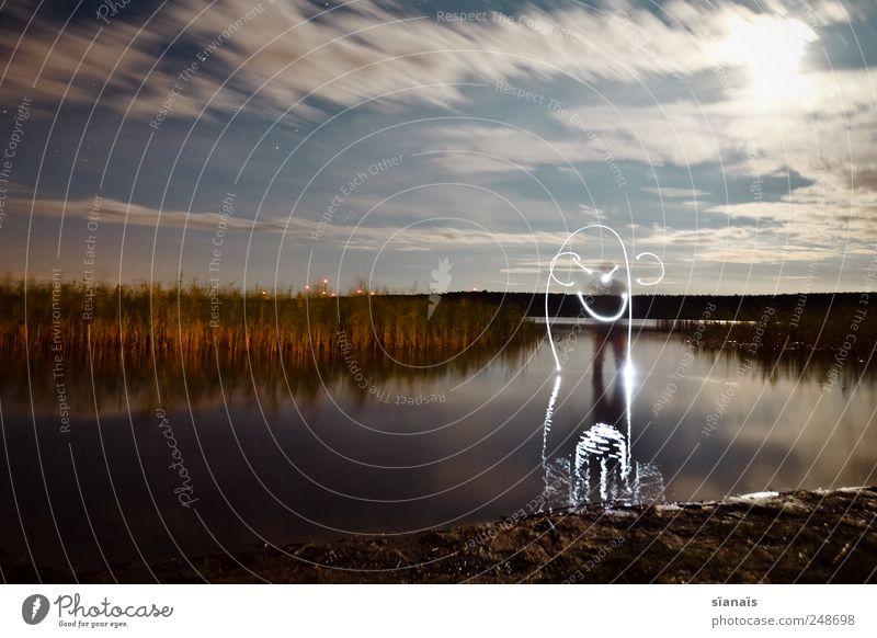 ..mit ohren Segeln Mensch Landschaft Wasser Himmel Wind Seeufer Bucht Schifffahrt Segelschiff Wasserfahrzeug zeichnen Surrealismus malen Wasseroberfläche