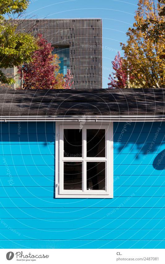 blaue hütte Wolkenloser Himmel Herbst Schönes Wetter Baum Stadt Essen Menschenleer Haus Hütte Hochhaus Bauwerk Gebäude Architektur Mauer Wand Fenster Dach Holz