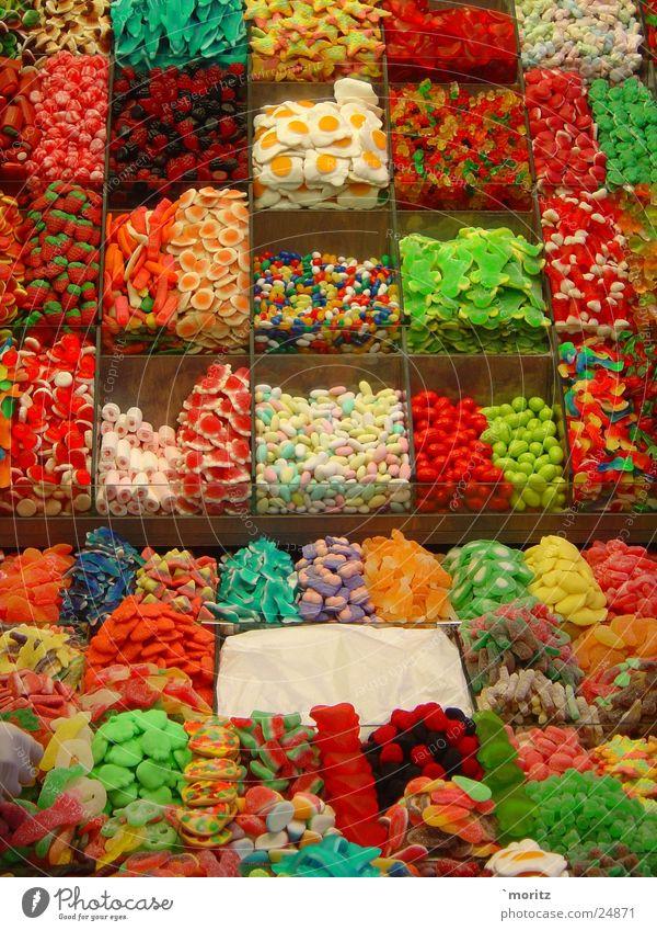 Sueßigkeiten grün rot Ernährung gelb süß Markt Paradies