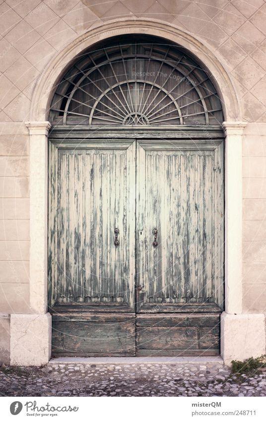 Door. Dorf ästhetisch Tür Tor Haus Fassade Eingang Eingangstür Hereinspaziert geschlossen Behörden u. Ämter alt baufällig Pastellton Holztür Nostalgie Farbfoto