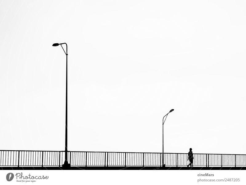bridgewalk Verkehr Straßenverkehr Brücke Coolness einfach elegant frei hell sportlich Stadt schwarz weiß Erholung Design Tourismus Straßenbeleuchtung
