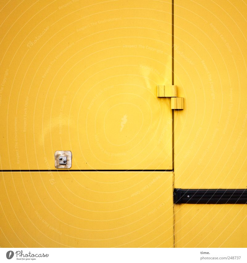 Feierabend schwarz gelb Ordnung Autotür Lastwagen vertikal horizontal Klappe Scharnier Rückseite
