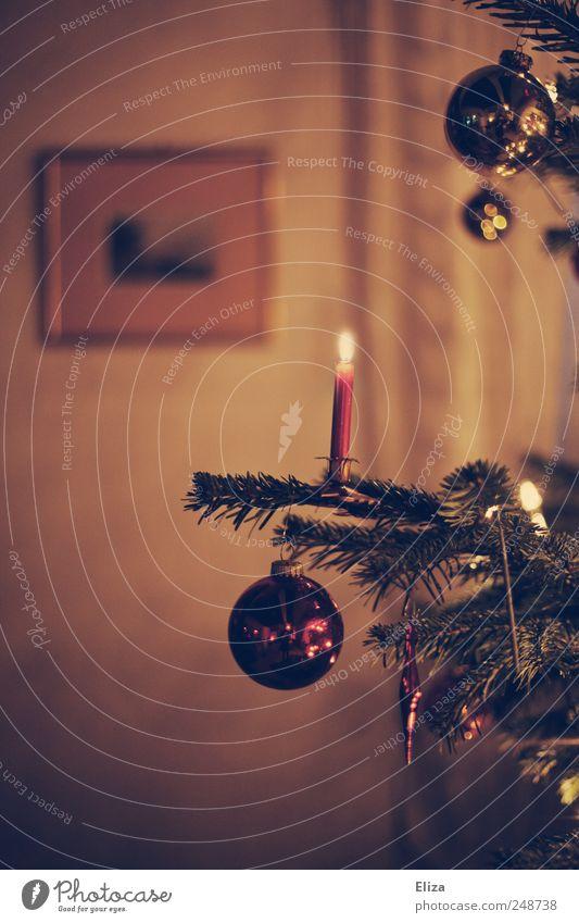 Geschmückter Weihnachtsbaum mit brennender Kerze und Christbaumkugeln im Wohnzimmer in retro Farbgebung Weihnachten Weihnachten & Advent authentisch