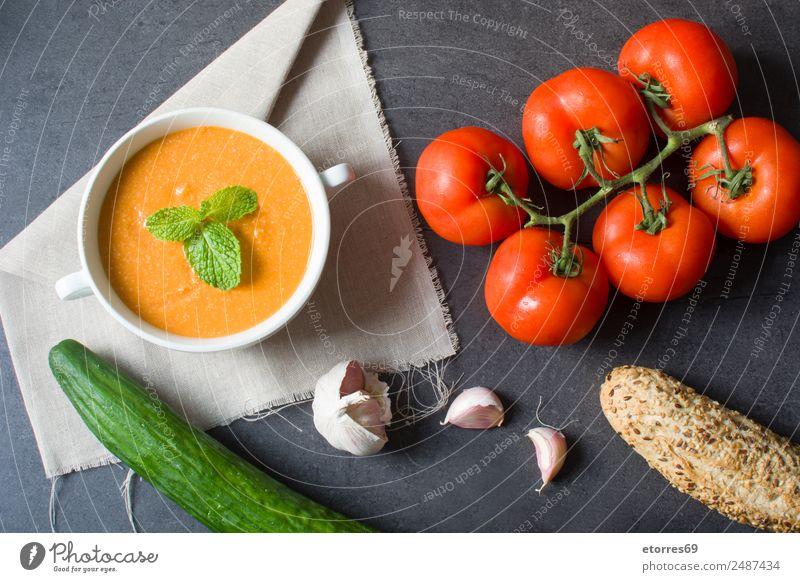 Kürbissuppe und Zutaten Lebensmittel Gemüse Suppe Eintopf Ernährung Vegetarische Ernährung Schalen & Schüsseln Gesundheit Erntedankfest grün orange rot schwarz