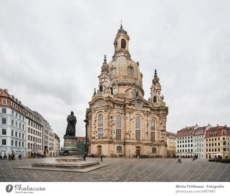 Frauenkirche Dresden Ferien & Urlaub & Reisen Stadt weiß rot Haus Architektur gelb Tourismus orange Fassade Design Kirche Kultur Platz groß hoch