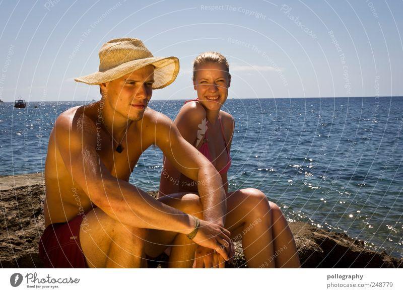 Sommer, Sonne, Sonnenschein Mensch Himmel Jugendliche Wasser Ferien & Urlaub & Reisen Meer Erwachsene Erholung Küste Paar Freundschaft maskulin Ausflug Insel