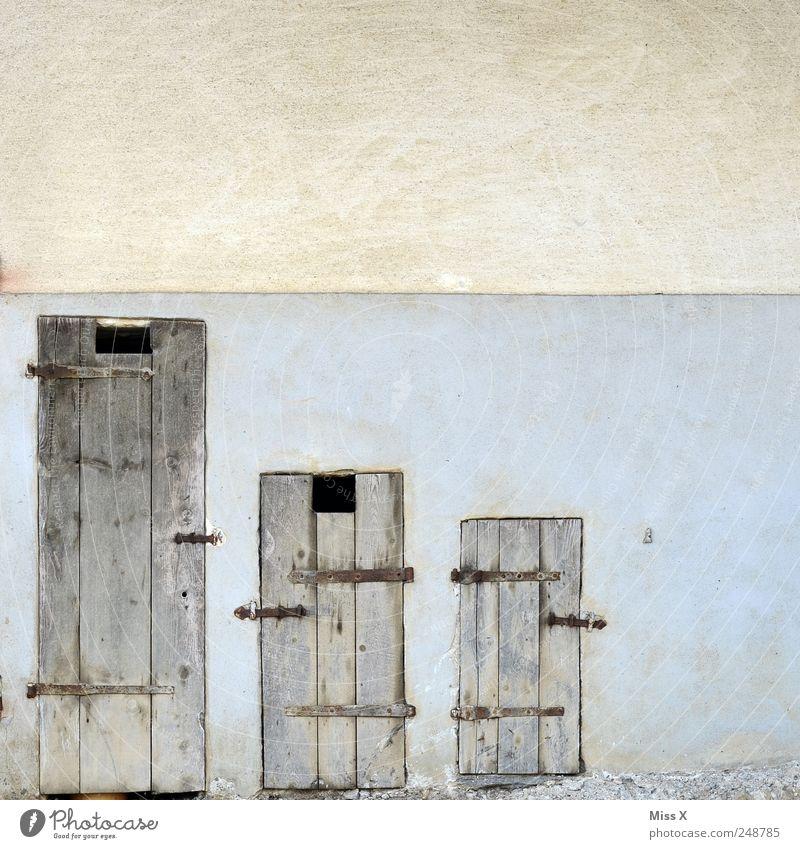 Wenn jeder seine eigene Zahnbürste hat... Mauer Wand Fassade Tür alt Bauernhof klein groß Beschläge Holztür Scheune Größenvergleich Verschiedenheit Farbfoto