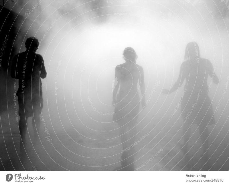 hinein in den Nebel Mensch schwarz Haus grau Kopf Menschengruppe Beine Freundschaft Rücken gehen Arme maskulin Boden trist bedrohlich