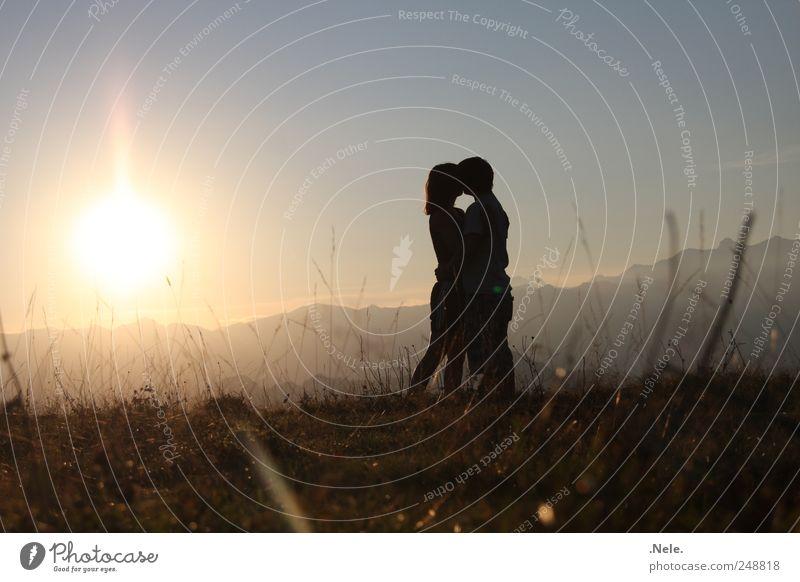Ein Augenblick. Mensch maskulin Junge Frau Jugendliche Junger Mann Paar Partner 2 Umwelt Natur Landschaft Sonne Sonnenlicht Sommer Küssen Liebe authentisch frei