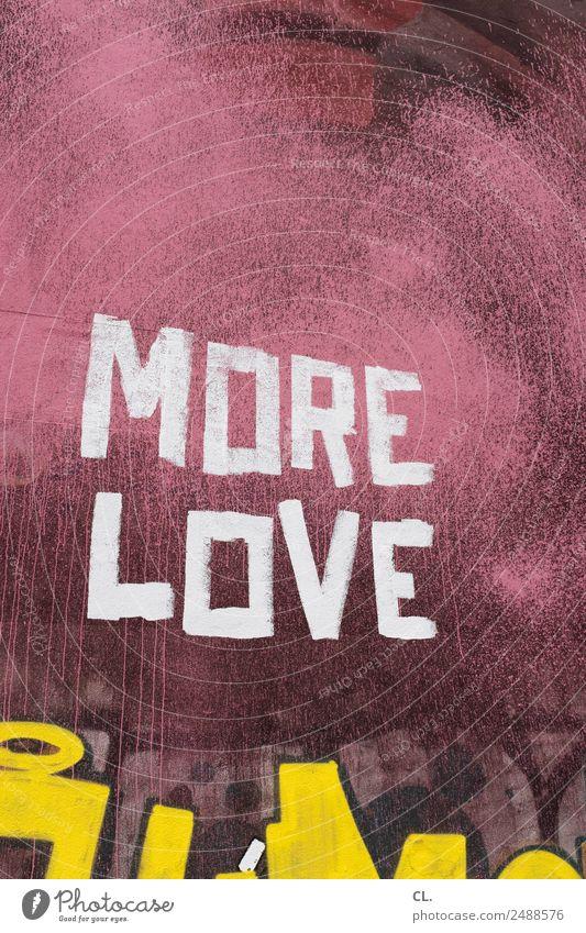 mehr liebe, berlin-neukölln Stadt Farbe weiß Leben gelb Religion & Glaube Graffiti Wand Liebe Gefühle Mauer rosa Schriftzeichen Kreativität authentisch Hoffnung