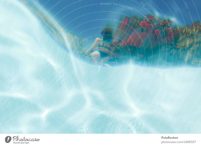 #A# Nixe Kunst Kunstwerk ästhetisch Schwimmbad Wasser Wasseroberfläche blau Erotik Frau Reflexion & Spiegelung Ferien & Urlaub & Reisen Urlaubsfoto