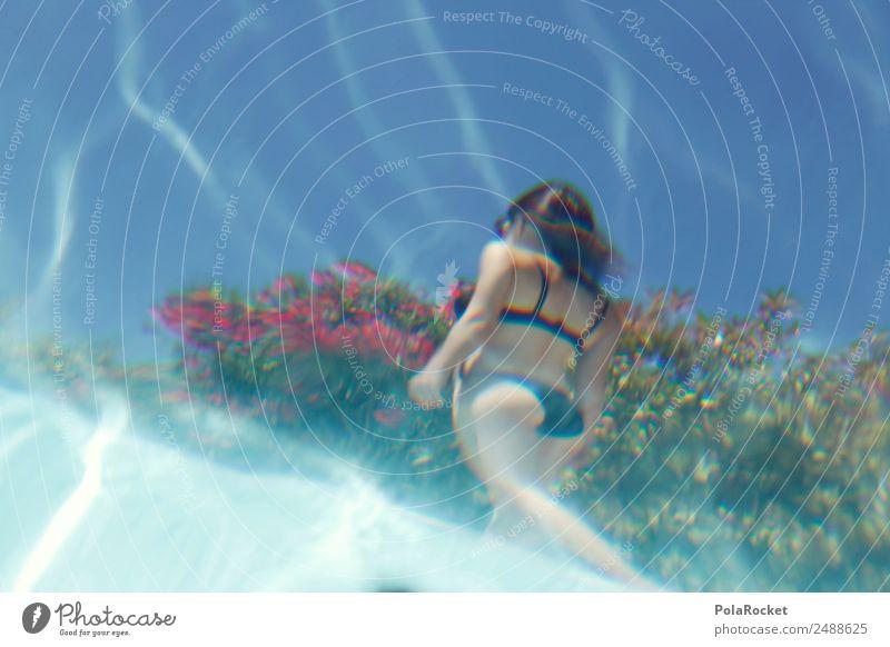#A# Wasser-Nixe Frau Ferien & Urlaub & Reisen Junge Frau Sommer Erotik Kunst Mode Frauenbrust Perspektive Sommerurlaub Schwimmbad Kitsch Model Gesäß exotisch