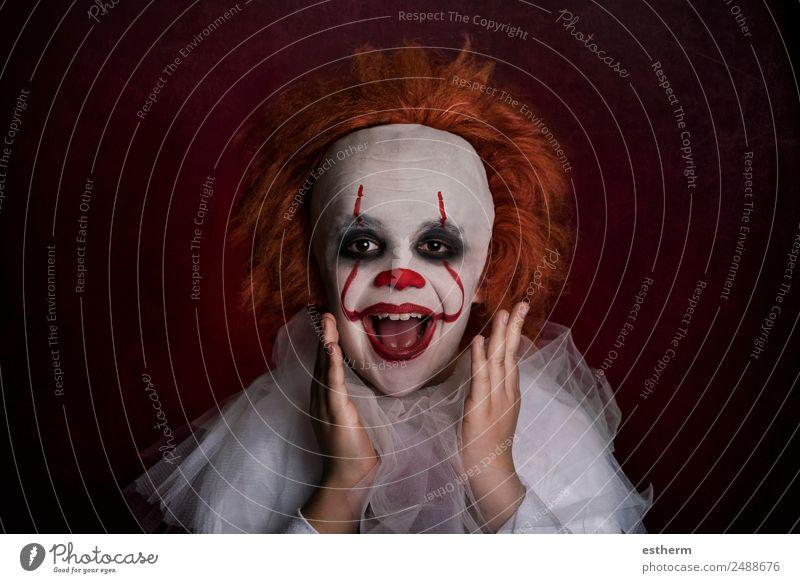 lächelnder Junge, verkleidet wie ein Clown. Lifestyle Ferien & Urlaub & Reisen Entertainment Party Veranstaltung Feste & Feiern Halloween Mensch maskulin Kind