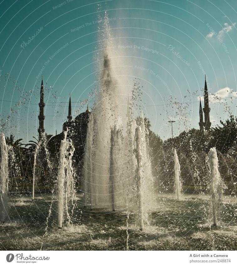 turkish beauty Sommer Schönes Wetter Istanbul Türkei Altstadt Platz Bauwerk Gebäude Architektur Moschee Wasserfontäne Brunnen Minarett Turm Kuppeldach