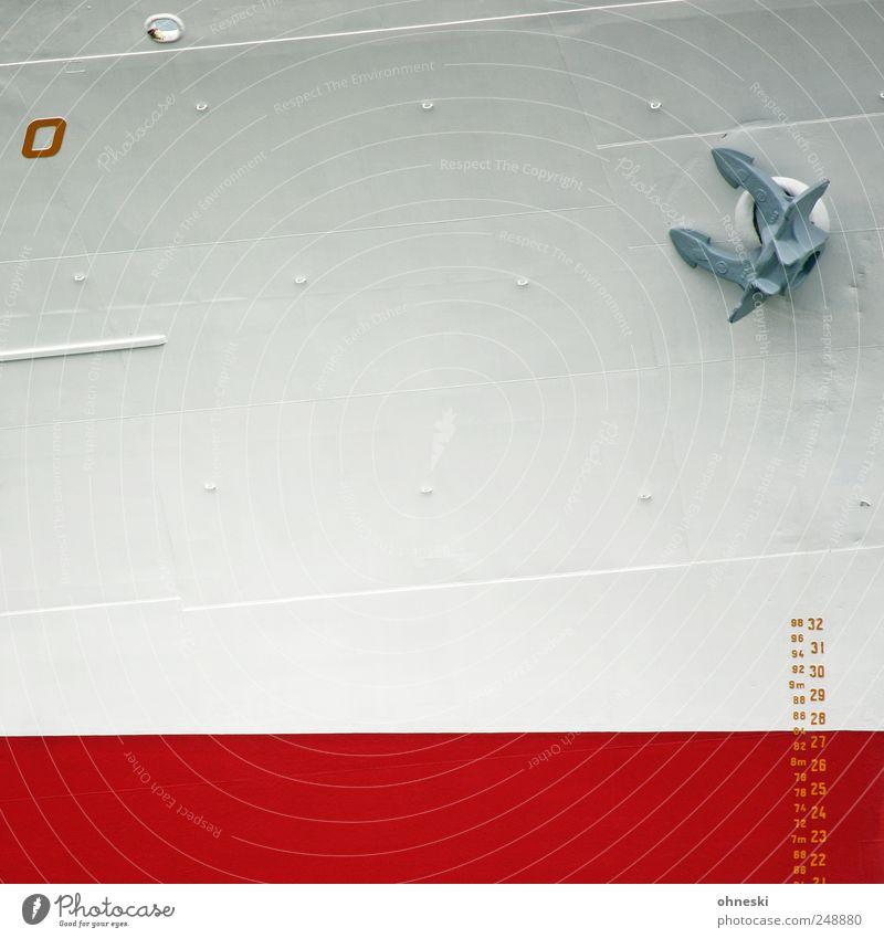 O weiß rot Linie Verkehr Schriftzeichen Ziffern & Zahlen Hafen Schifffahrt Anker Symbole & Metaphern Containerschiff Wasserstand