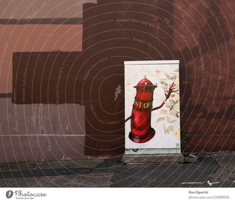 Post Office Bauwerk Gebäude Mauer Wand Graffiti lustig Stadt braun rot Briefkasten Straßenkunst Dekoration & Verzierung Anstrich Kasten Telekommunikation