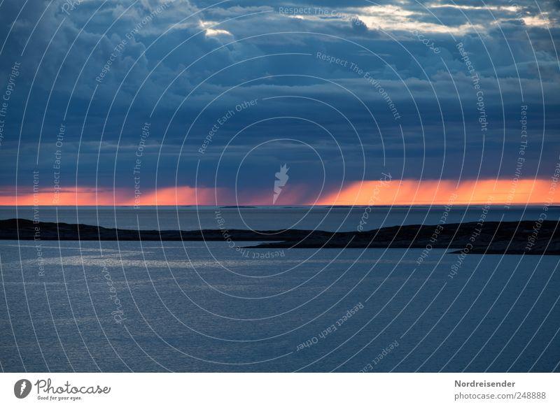 Regen im Westen Himmel Natur blau Meer Ferien & Urlaub & Reisen Wolken ruhig Leben Landschaft Horizont Insel ästhetisch Klima beobachten Unwetter