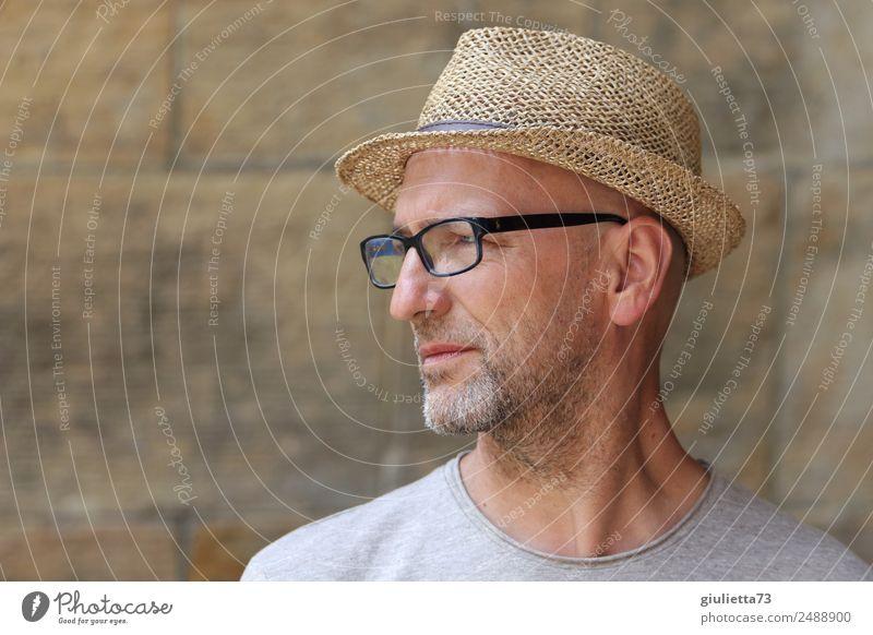 Zwiespalt | UT Dresden maskulin Mann Erwachsene Männlicher Senior 1 Mensch 45-60 Jahre 60 und älter Brille Hut Strohhut grauhaarig Glatze Bart Denken