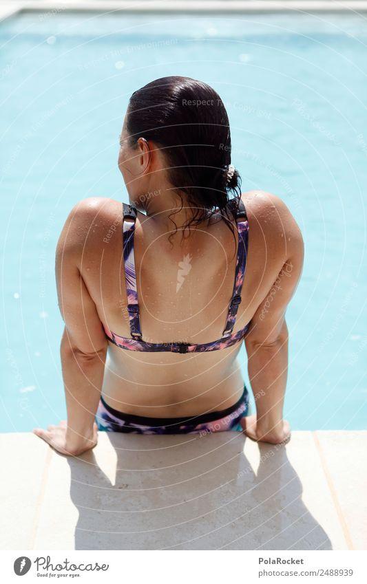 #A# Pool-Tag 1 Mensch ästhetisch Schwimmbad Hotelpool Erotik Frau Bikini BH Wasser Sommer Sommerurlaub sommerlich Ferien & Urlaub & Reisen Urlaubsfoto