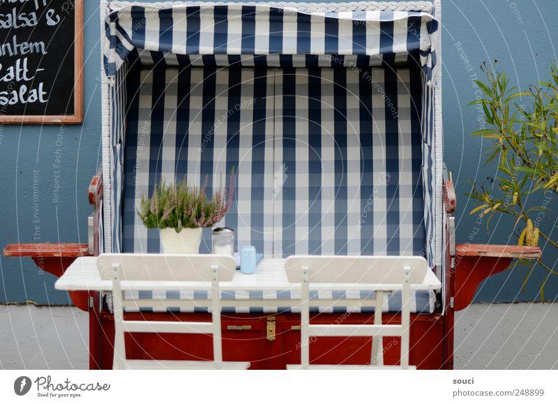 Strandcafé Ferien & Urlaub & Reisen blau Sommer Meer Erholung rot Garten Zufriedenheit Tisch Ausflug Insel Stuhl Ostsee Wohlgefühl Möbel