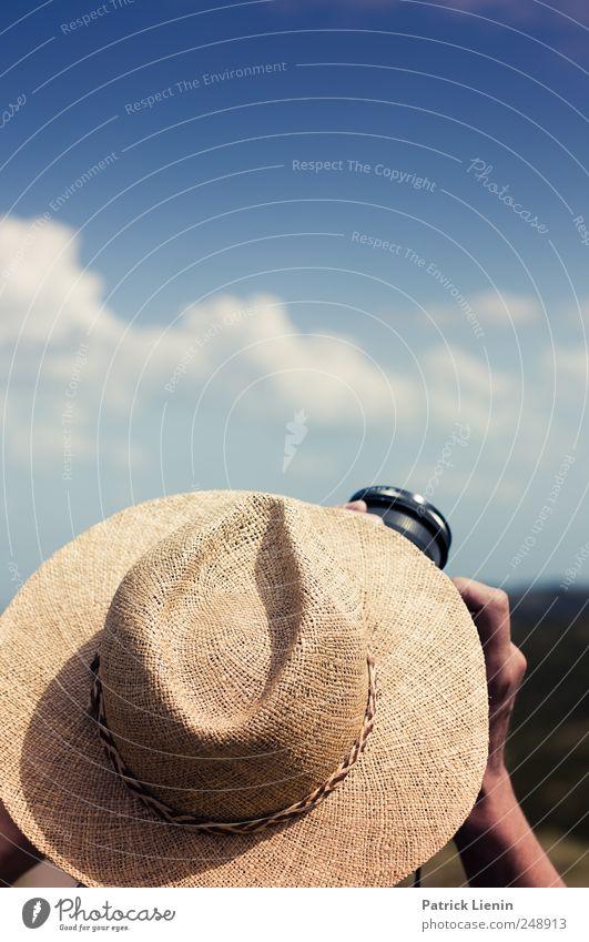 Nordseeurlaub Mensch Himmel blau Ferien & Urlaub & Reisen Sommer Ferne Freiheit Kopf Freizeit & Hobby maskulin Ausflug Abenteuer Tourismus Fotokamera Hut