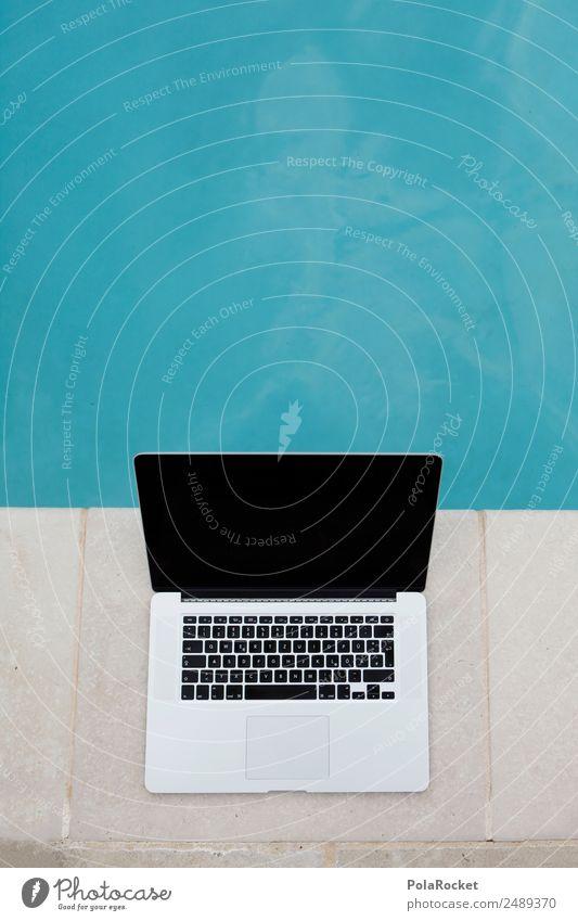 #A# Arbeitsplatz Ferien & Urlaub & Reisen blau Kunst Arbeit & Erwerbstätigkeit Zufriedenheit ästhetisch Schwimmbad exotisch Tastatur Notebook Vielfältig