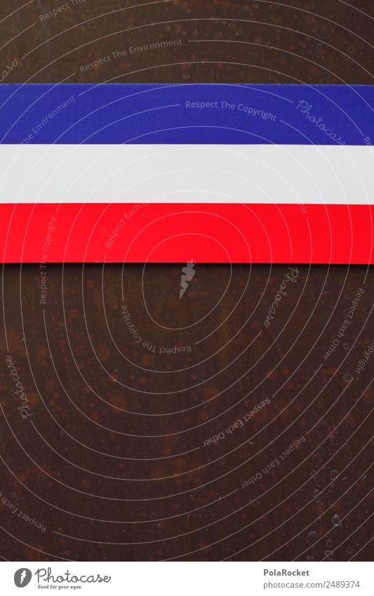 #A# tricolore Kunst Kunstwerk ästhetisch Tricolore Frankreich blau rot weiß Streifen gestreift Fahne Europa 3 Farbfoto mehrfarbig Außenaufnahme Detailaufnahme